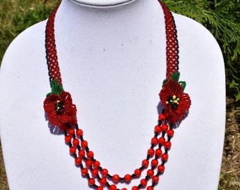 Poppy Flower Necklace, Beaded Poppy Necklace, Ukrainian Necklace, Gerdan, Red Seed Bead Necklace, Folk Necklace, Elegant Necklace