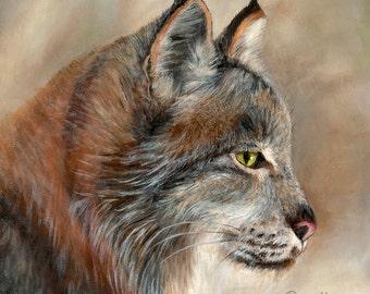 Bobcat Lynx Oil Painting Coaster Coasters Ceramic Wood Glass Stone