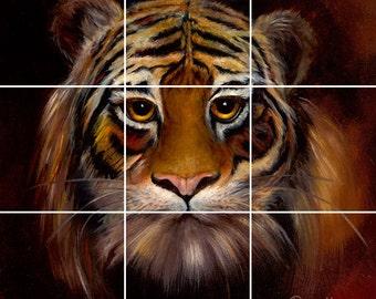 Tiger Tile Mural Painting Back Splash Kitchen Home Decor Art  Wild Life Tile Mural
