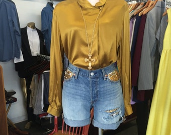 Gold Sequin Jean Shorts