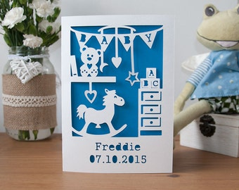 Personalised New Baby Boy Card - It's A Boy Handmade Paper Cut - 5x7 Inches