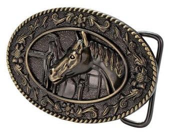 Oval Horse head belt buckle for women, cowgirl belt buckle for her, western womens belt buckle, horse belt buckle bronze