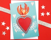 Sacred Heart Anniversary Card - Mexican Flaming Heart - Mexico Love Card - Anniversary Cards - Wedding Gifts - Engagement Card