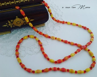 Collana lunga - long necklace with orange and yellow pearl paper - Fatta a mano - made in Italy - pearl paper - orange and yellow