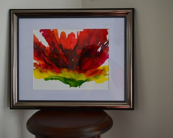 Red Hibiscus: Alcohol Ink Original Art On Yupo Paper