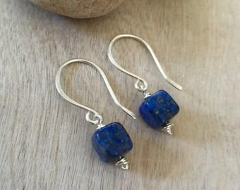 ON SALE 30% Lapis lazuli earrings  Sterling silver earrings  Dangle earrings  Artisan earrings Natural stone earrings