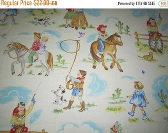 One Day Sale Michael Miller's Westward Ho fabric Rare OOP Vintage Childrens Images Cowboys and Cowgirls Horses Western Theme Remnant Piece