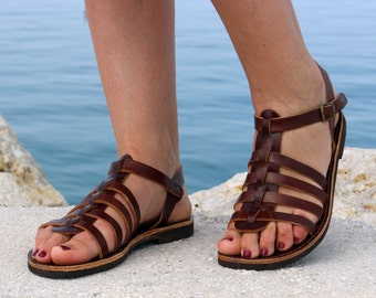 Gladiator Leather sandals, handmade leather Sandals, Brown color Full Grain Leather Women Sandals Gold color