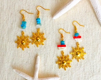 Sun charm earrings