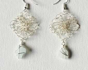 Hawaii Aqua Sea Glass Silver Wire Crochet Dangling Earrings