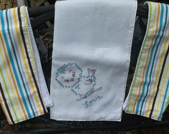 Hand Embroidered/Hand Stitched Baby Bird Blanket and Burp Cloths-Baby Gift Set