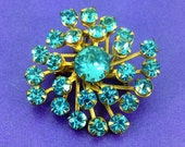 Vintage Turquoise Crystal Brooch Austrian Crystal Crystal Pendant c1940 BroochPendant Goldtone Vintage Wedding