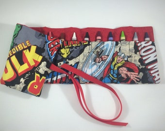 Avengers Comic Book Super Hero Crayon Roll - party favor, kids gift, crayon holder, crayon caddy, crayon organizer