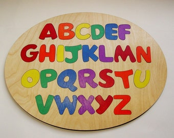 Wooden Alphabet Puzzle ~ Round Wooden Puzzle ~ Childrens Puzzles ~ Custom Made Educational Toy ~ Hand Painted or Unfinished Flush Letters