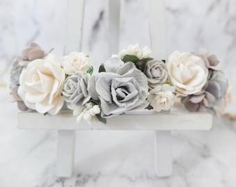 Grey and white wedding flower crown - head wreath - hair accessories - flower girls - garland