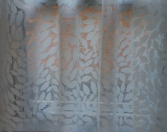 Curtains, White Sheer Curtains, Designer Sheer Curtains, Leaves pattern sheer curtains, Sheer Drapery, Cafe curtains.