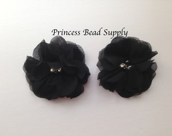 "Black Chiffon Flowers, Set of 2 Black Chiffon Flowers, 3"" Chiffon Flowers, Pearl & Rhinestone Chiffon Fabric Flowers, Headband Flowers"