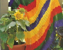 Crochet Crayon Rainbow Comforter Afghan Child's Bed Throw Blanket Beginner Pattern - PDF Download