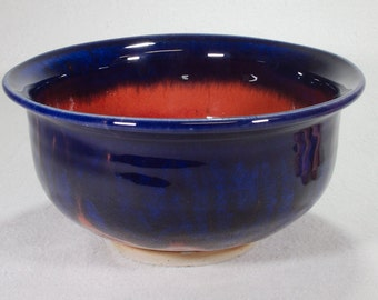 Midnight Blue and Ruby Red Medium Stoneware Bowl