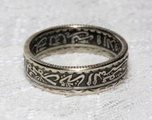Size 6.5 Gorgeous silver ring, handcrafed out of a Moroccan 50 Francs coin