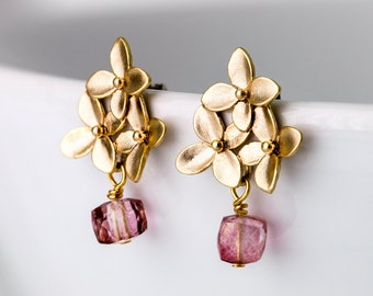 Satin gold plated blossom earrings with pale rose colored quartz cube, cherry blossom ear studs, satin gold earrings, pink quartz