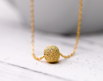 Simple gold plated sterling silver necklace with dainty gold plated sterling silver ball, dainty necklace, gold necklace, gold pendant