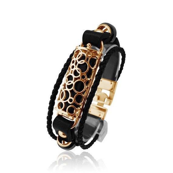 Bracelet SOMA - Gold - Flex Jewelry - made from stainless steel and leather