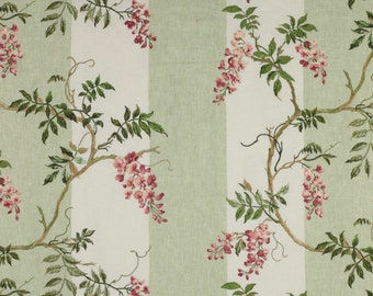 COLEFAX & FOWLER Shabby WISTERIA Stripes Embroidered Linen Fabric 10 Yards Pink Rose Green Amber