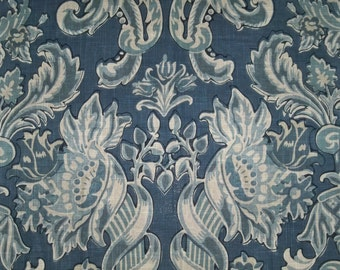 DESIGNER FRENCH COUNTRY Mediterranean Damask Toile Linen Fabric 10 Yards Indigo Blue