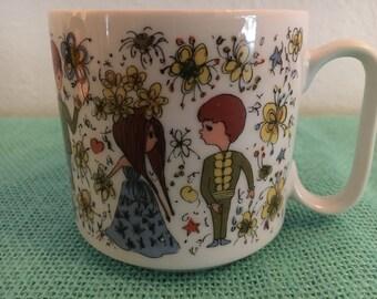 Vintage Mug Young Love Girl Boy 8014