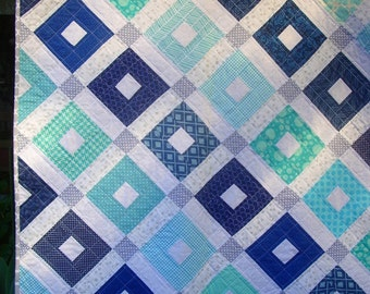 Blue aqua and grey baby quilt, handmade baby quilt, modern baby quilt