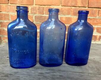 Vintage Blue Glass Bottles - Lot of 3