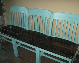 Three Chair Wood Bench w/Shelf