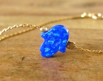 Opal hamsa bracelet, opal bracelet, gold bracelet, evil eye bracelet, gold hand bracelet, opal jewelry, opal hand bracelet, blue opal