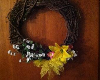 Yellow spring wreath