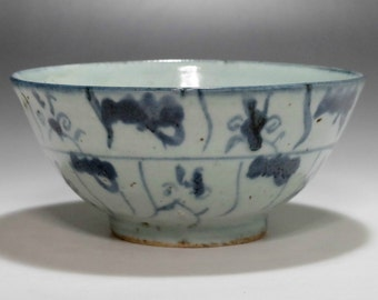 Vintage Chinese Blue and White Porcelain Bowl in Late Qing #1764