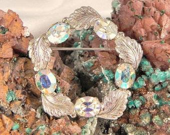 Vintage Sterling Silver Aurora Borealis Brooch Pin