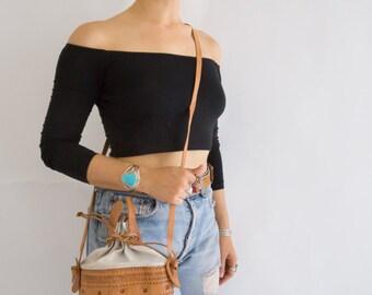 Vintage 1970's /80's Moroccan, Leather Cross Body Bucket Bag, Tan/White, Small/Medium