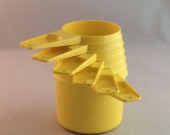 Vintage Tupperware Measuring Cups Set of Six, Plastic Stacking Measuring Cups