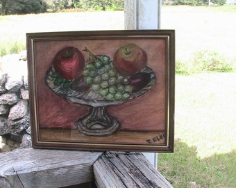 Fruit Bowl Still Life Vintage Oil Painting Folk Art Retro Hand Made Shabby Chic Home Decor