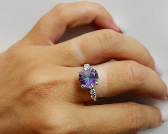 SALE! Sterling silver ring, Engagement ring, Mystic Topaz ring, Green Pink Gemstone,  Crystals Ring, Wedding gift