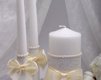 Unity Ceremony Set Wedding Unity candles Ivory Candle Wedding unity candle set Ivory Unity candle Unity candle set Ceremony unity candle set