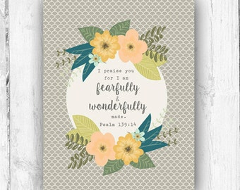 Psalm 139:14, Vintage Inspired, Wall Print