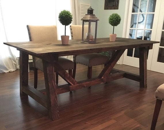 Truss beam farmhouse table farm table and by for 120 inch long dining room table