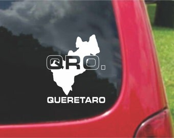 2 Pieces Queretaro Mexico Outline Map  Stickers Decals 20 Colors To Choose From.  U.S.A Free Shipping