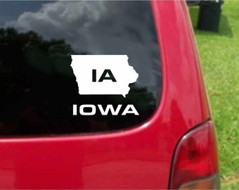 2 Pieces Iowa IA State USA Outline Map Stickers Decals 20 Colors To Choose From.  U.S.A Free Shipping