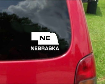 2 Pieces Nebraska NE State USA Outline Map Stickers Decals 20 Colors To Choose From.  U.S.A Free Shipping