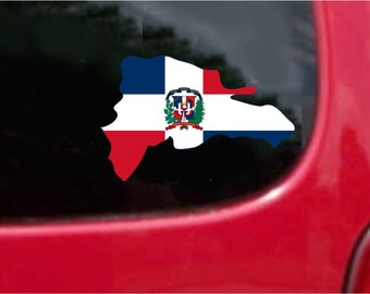 2 Pieces Republica Dominicana   Outline Map Flag Vinyl Decals Stickers Full Color/Weather Proof.
