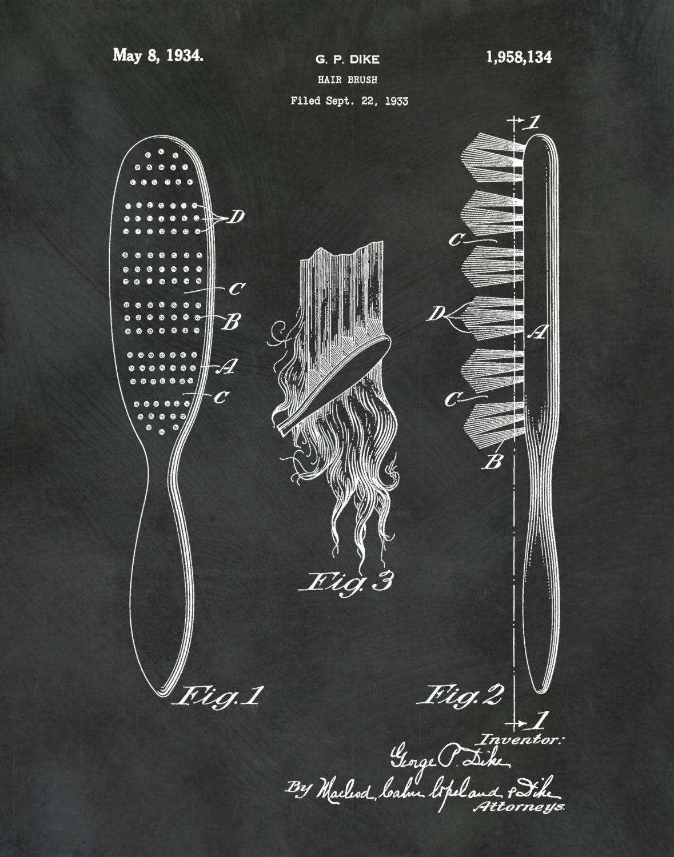 Patent 1934 hair brush art print poster barber shop art gallery photo gallery photo gallery photo gallery photo gallery photo malvernweather Image collections
