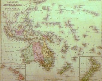 1890 Map Australia, Maylasia & Polynesia Matted Antique Print